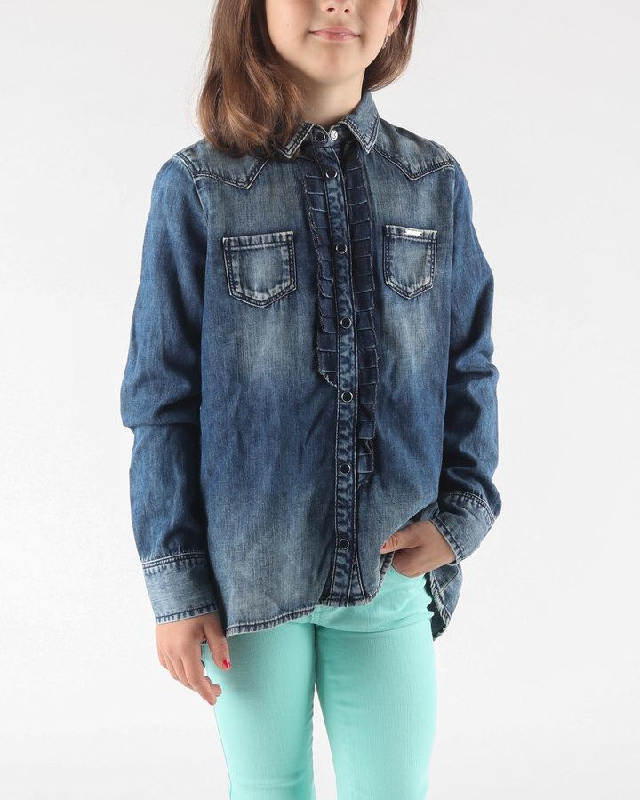 Modrá dívčí košile s dlouhým rukávem Diesel