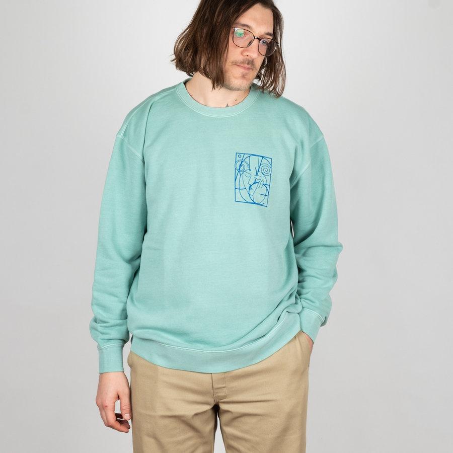 Modrá pánská mikina bez kapuce Isle Skateboards