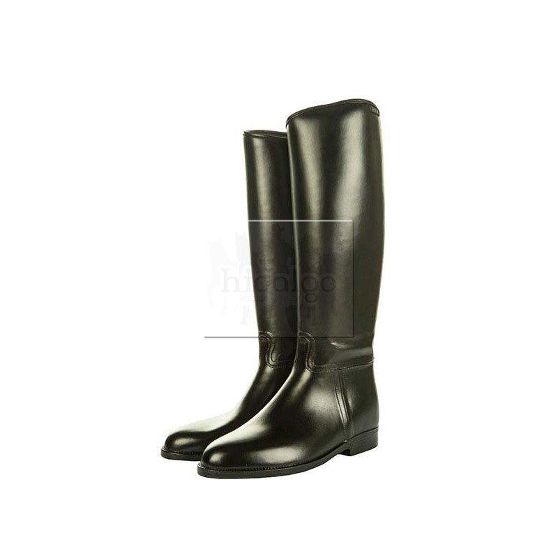 Černé PVC vysoké pánské jezdecké boty s gumou HKM