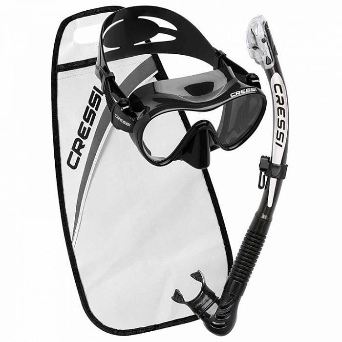 Potápěčská sada - CRESSI Potápěčský set maska F1 + šnorchl ALPHA ULTRA DRY - bílá