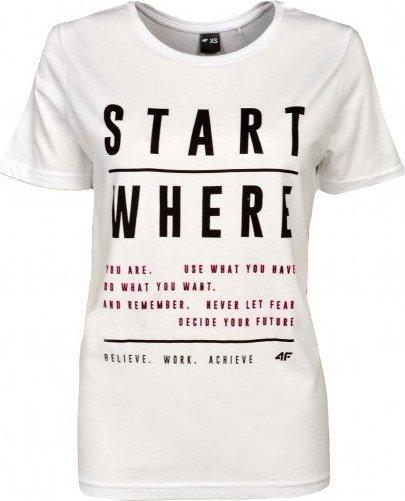 Bílé dámské tričko s krátkým rukávem 4F - velikost XL