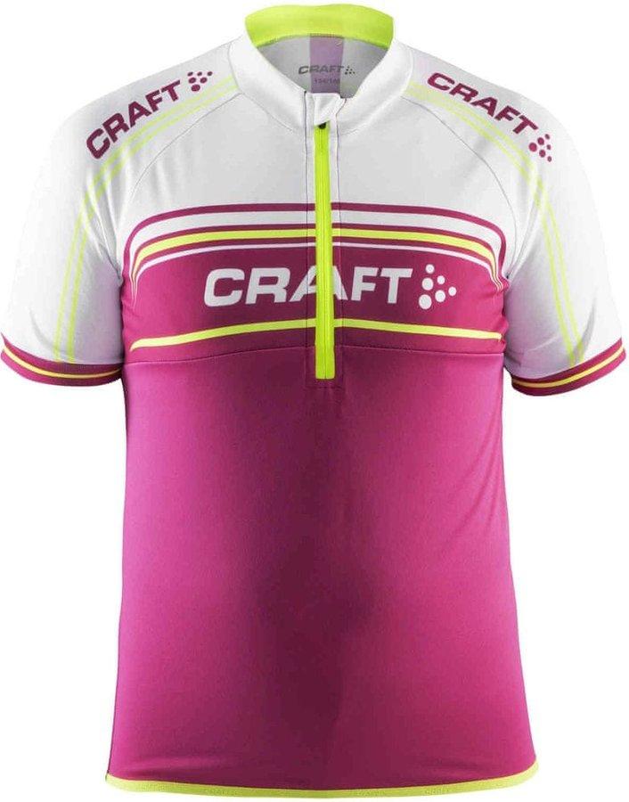 Bílo-růžový dívčí cyklistický dres Craft - velikost 158