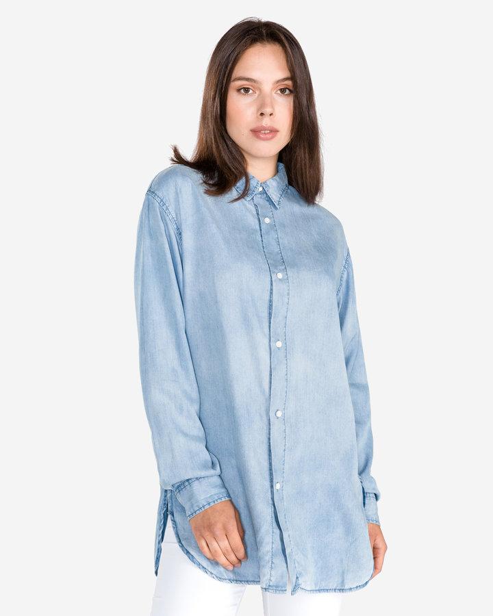 Modrá dámská košile s dlouhým rukávem Replay