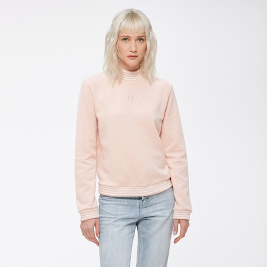 Mikina - Růžová mikina – Quinn mock – L