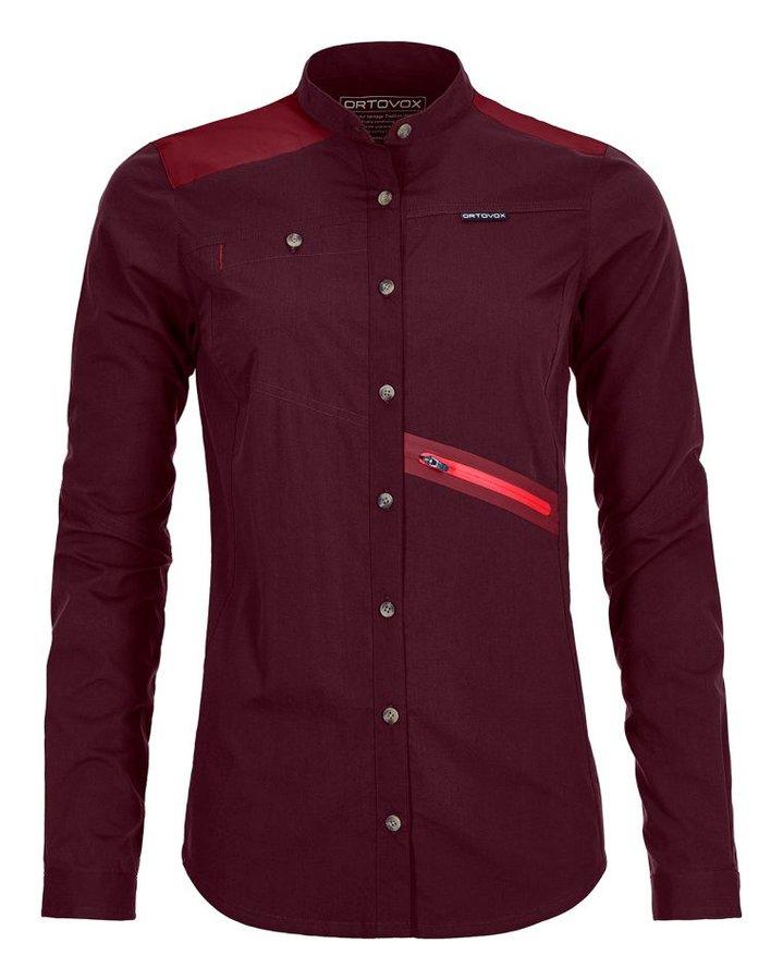 Červená dámská turistická košile s dlouhým rukávem Ortovox