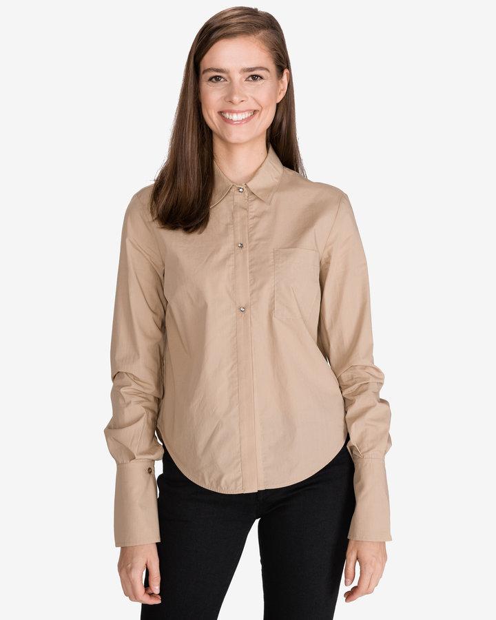 Béžová dámská košile s dlouhým rukávem Pinko