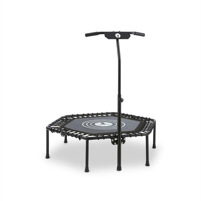 Šestiúhelníkový fitness trampolína s madlem Klarfit - průměr 112 cm