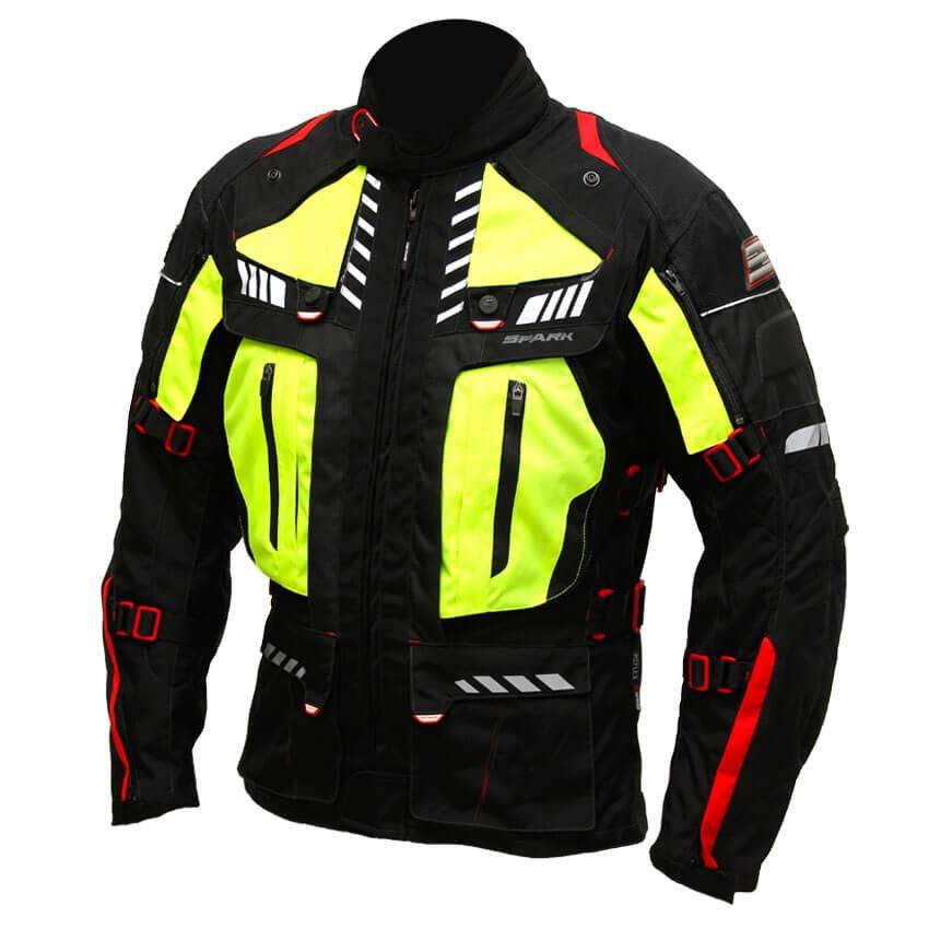 Černo-žlutá pánská motorkářská bunda EXPEDITION, Spark