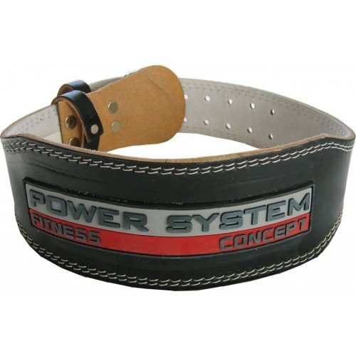 Vzpěračský pás - POWER SYSTEM černý kožený opasek Velikost L