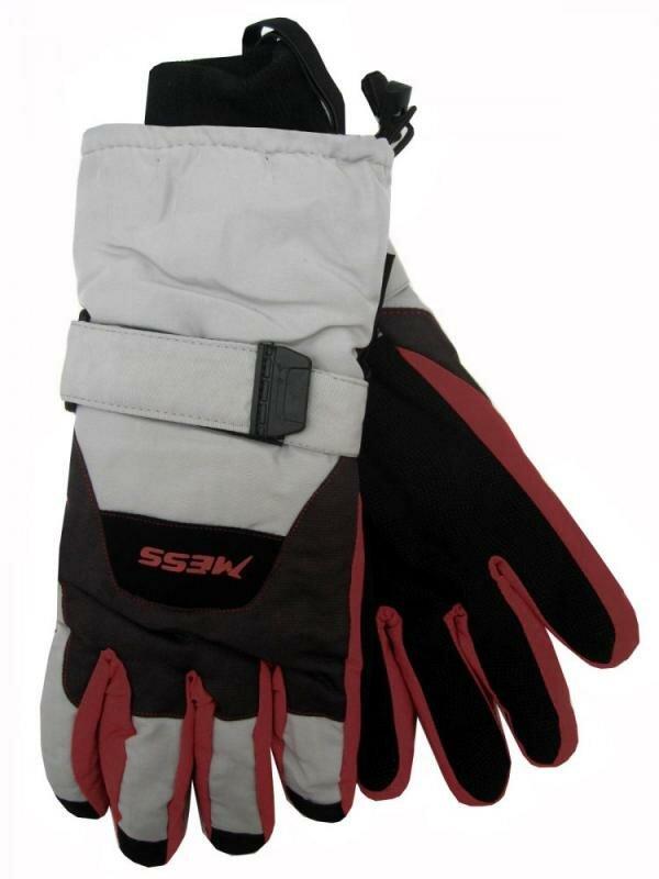 Černo-šedé pánské lyžařské rukavice Mess - velikost L
