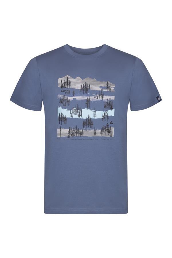 Modré pánské turistické tričko s krátkým rukávem Alpine Pro - velikost S