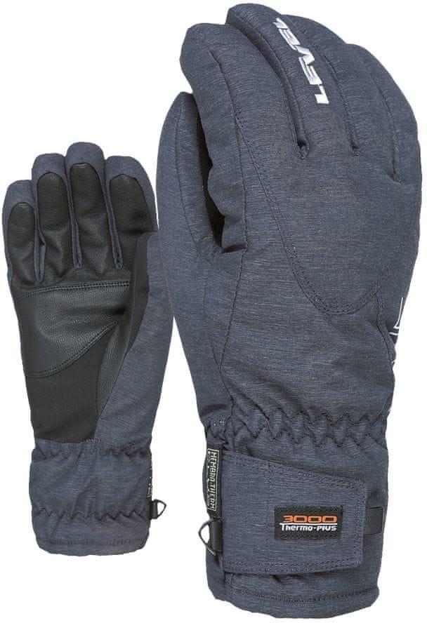 Šedé pánské lyžařské rukavice Level