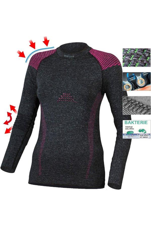 Černé dámské termo tričko s dlouhým rukávem Lasting