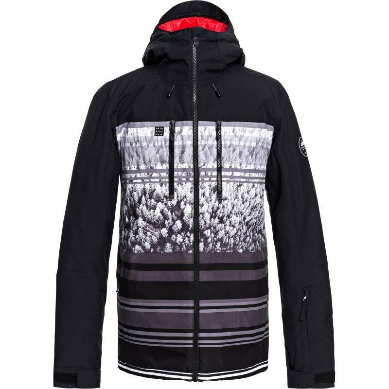 Černo-šedá pánská snowboardová bunda Quiksilver - velikost M