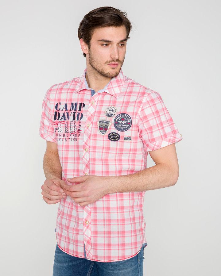 Růžová pánská košile s krátkým rukávem Camp David - velikost M