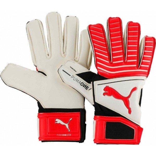 Bílo-červené pánské brankářské fotbalové rukavice Puma