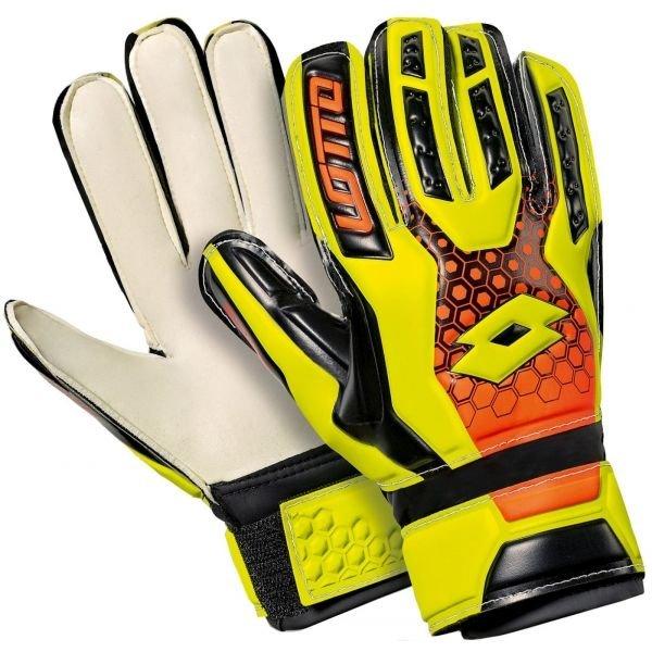 Černo-žluté dětské brankářské fotbalové rukavice Lotto