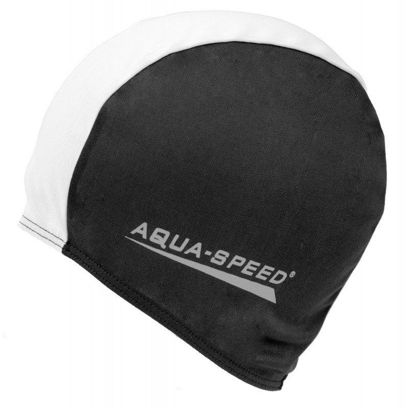 Bílo-černá pánská nebo dámská plavecká čepice Aqua-Speed
