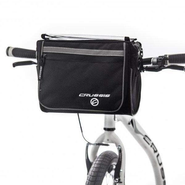 Černo-šedá brašna na kolo na řidítka Crussis - objem 8,4 l