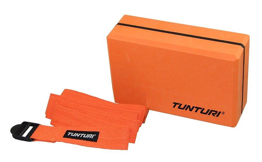 Oranžový jóga blok Tunturi - délka 23 cm, šířka 15 cm a výška 7,5 cm