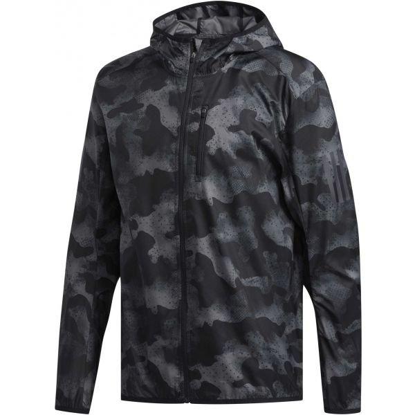 Černo-šedá pánská běžecká bunda s kapucí Adidas - velikost L