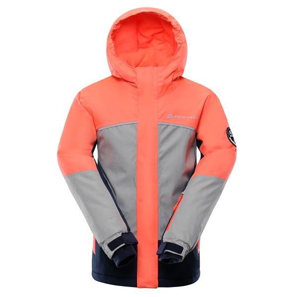 Růžovo-šedá zimní dívčí bunda s kapucí Alpine Pro - velikost 116-122