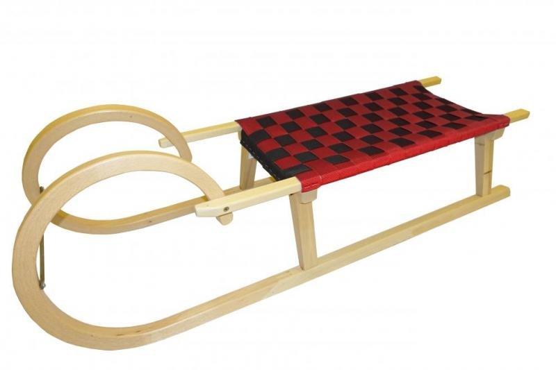 Červené dřevěné sáňky Bohemia Sport