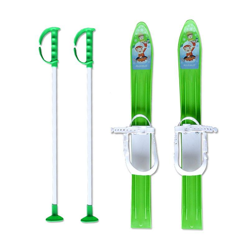 Zelená dětská sada na sjezdové lyžování Master - délka 60 cm