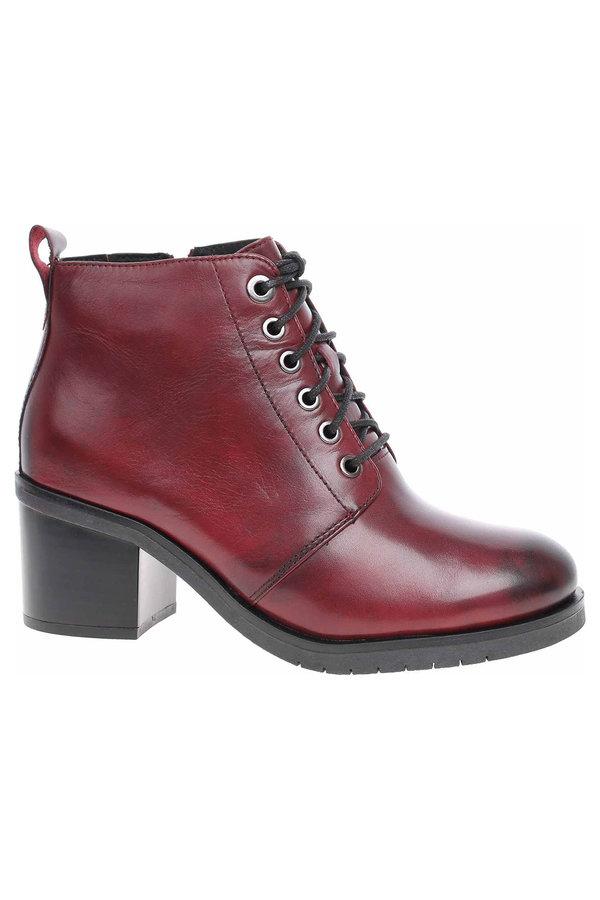Červené dámské kotníkové boty Caprice