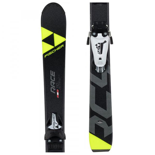 Černo-žluté dětské lyže s vázáním Fischer - délka 130 cm