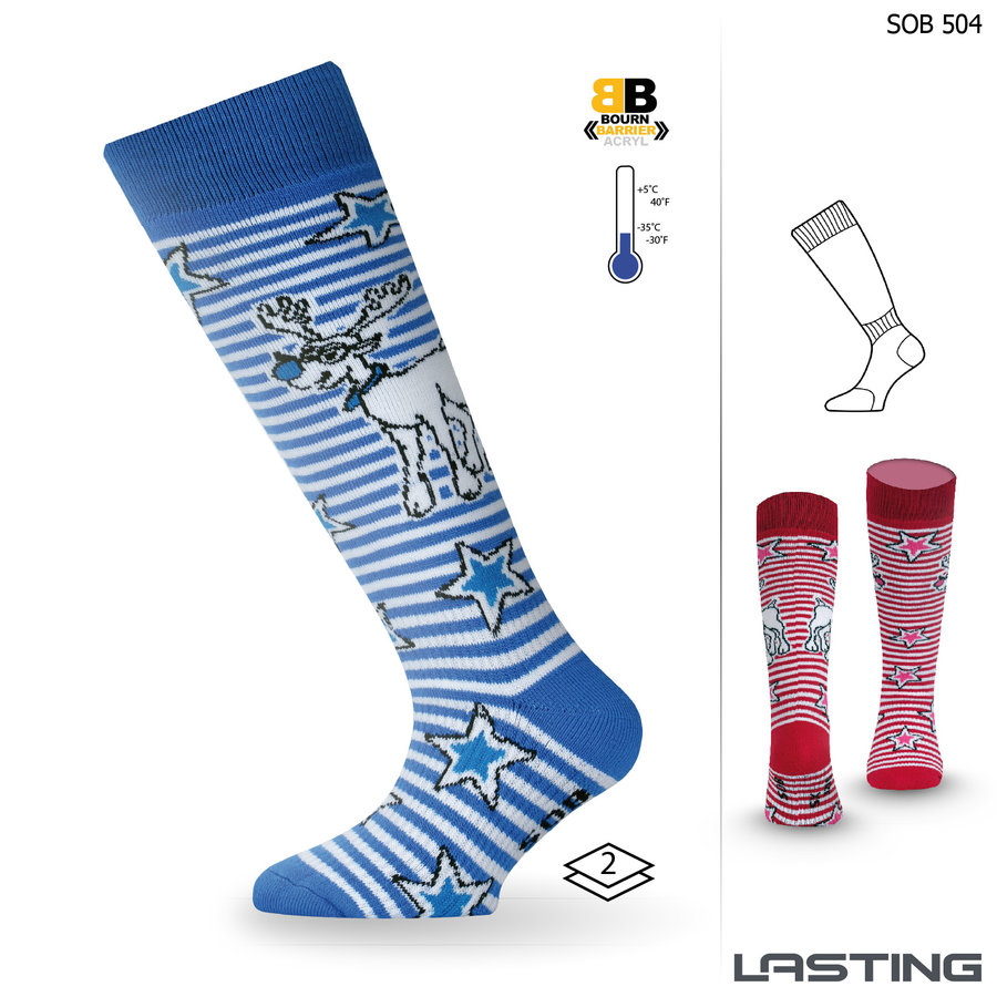 Bílo-modré chlapecké lyžařské ponožky Lasting - velikost 29-33 EU