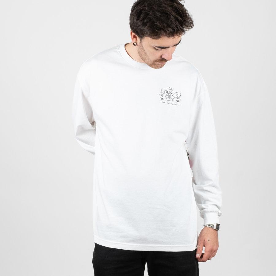 Bílé pánské tričko s dlouhým rukávem Krooked - velikost XL