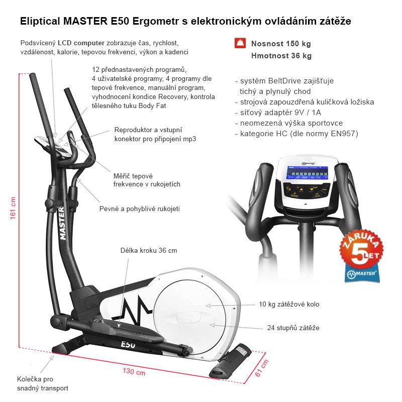Elektromagnetický eliptický trenažér E50 Ergometr, Master - nosnost 150 kg