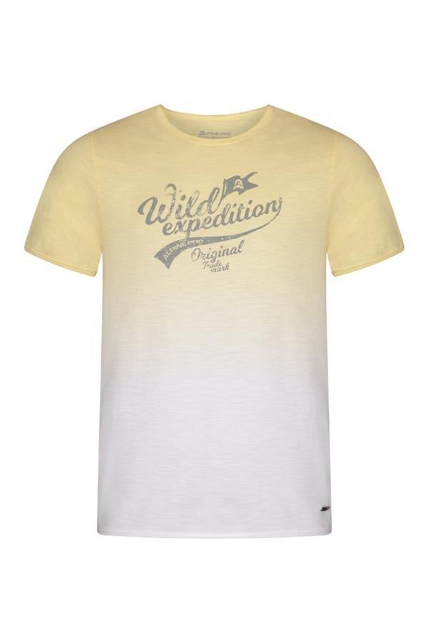 Bílo-žluté pánské tričko s krátkým rukávem Alpine Pro - velikost XS