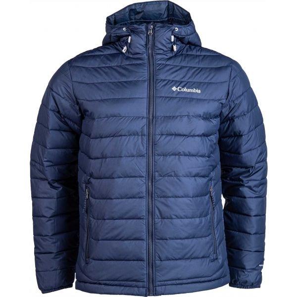 Modrá zimní pánská turistická bunda s kapucí Columbia - velikost S