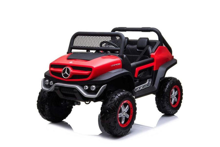 Červené dětské elektrické autíčko Mercedes Unimog, Beneo