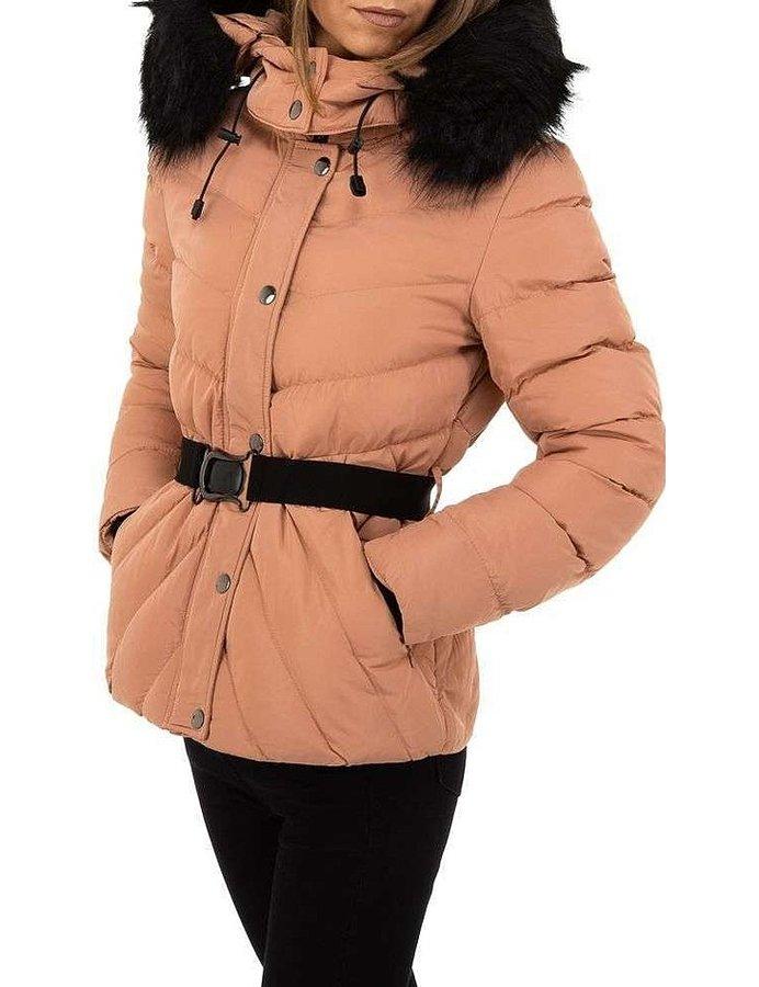 Růžová zimní dámská bunda s kapucí - velikost M