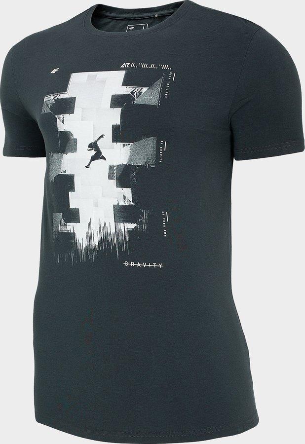 Šedé pánské tričko s krátkým rukávem 4F - velikost S
