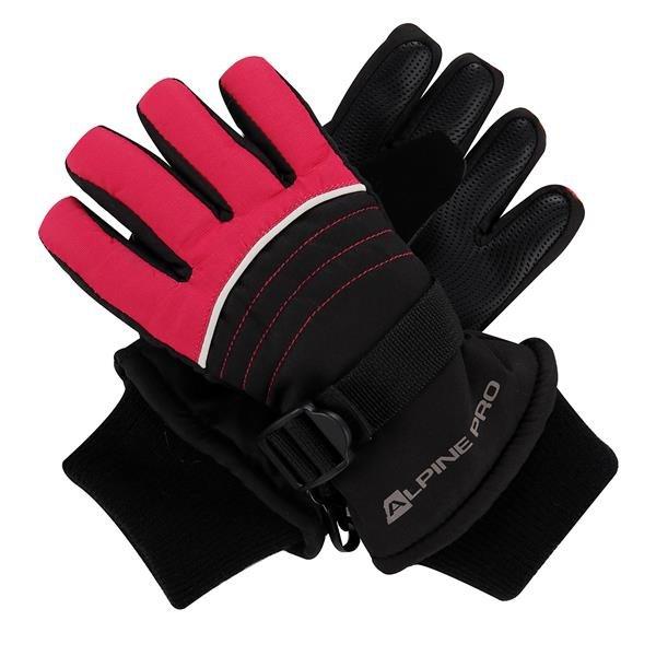 Černo-růžové dětské dívčí zimní rukavice Alpine Pro