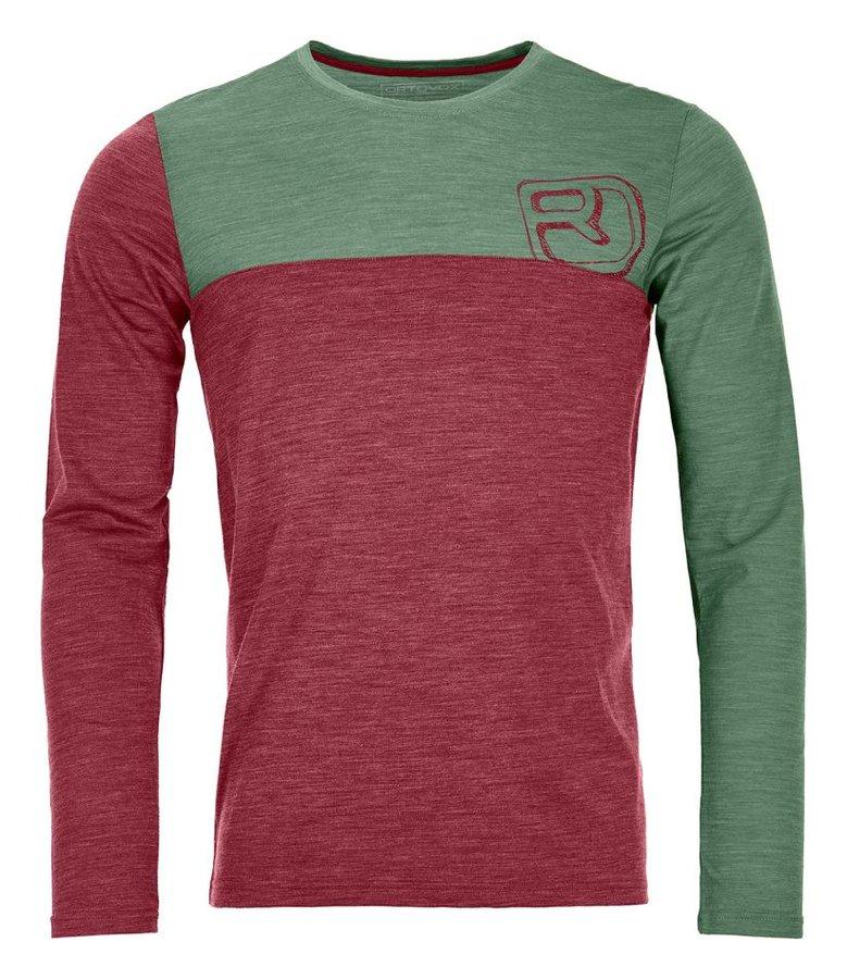 Červeno-zelené pánské termo tričko s dlouhým rukávem Ortovox