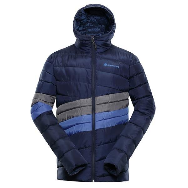 Modrá zimní pánská bunda s kapucí Alpine Pro