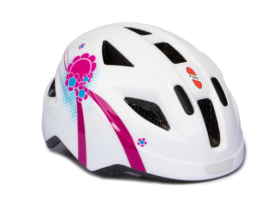 Cyklistická helma - PUKY - Přilba PH 8-S - bílá / růžová - velikost 45-51 cm
