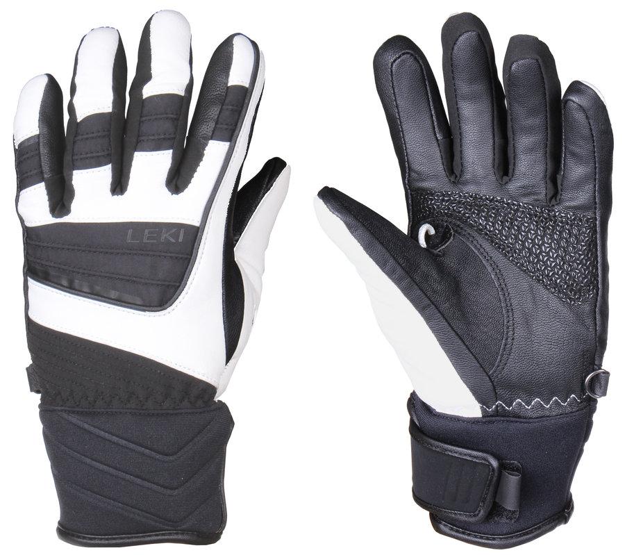 Bílo-černé dámské lyžařské rukavice Leki
