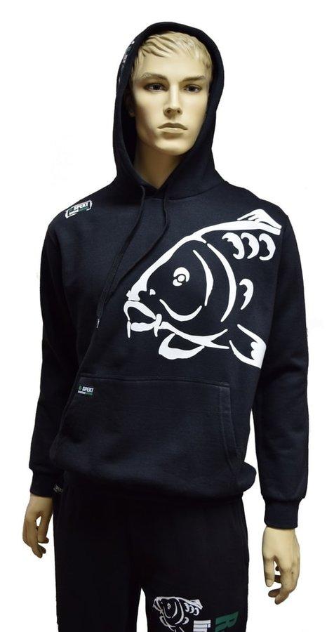Černá rybářská mikina s kapucí R-Spekt