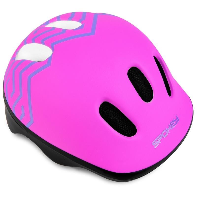 Růžová dětská cyklistická helma Spokey - velikost 44-48 cm