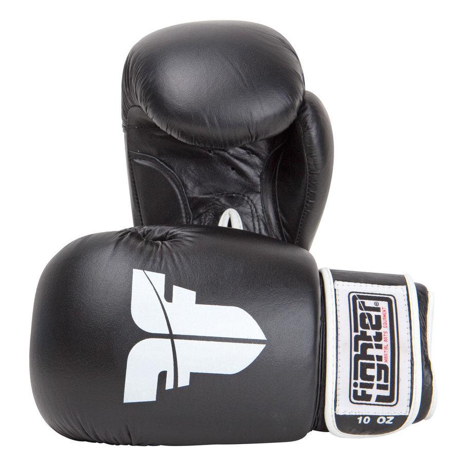 Boxerské rukavice - Boxerské rukavice Fighter - černá - černá - velikost 16