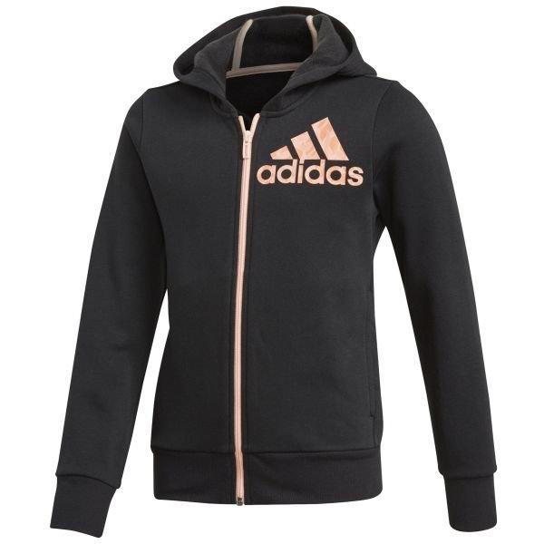 Černá dívčí mikina s kapucí Adidas - velikost 116