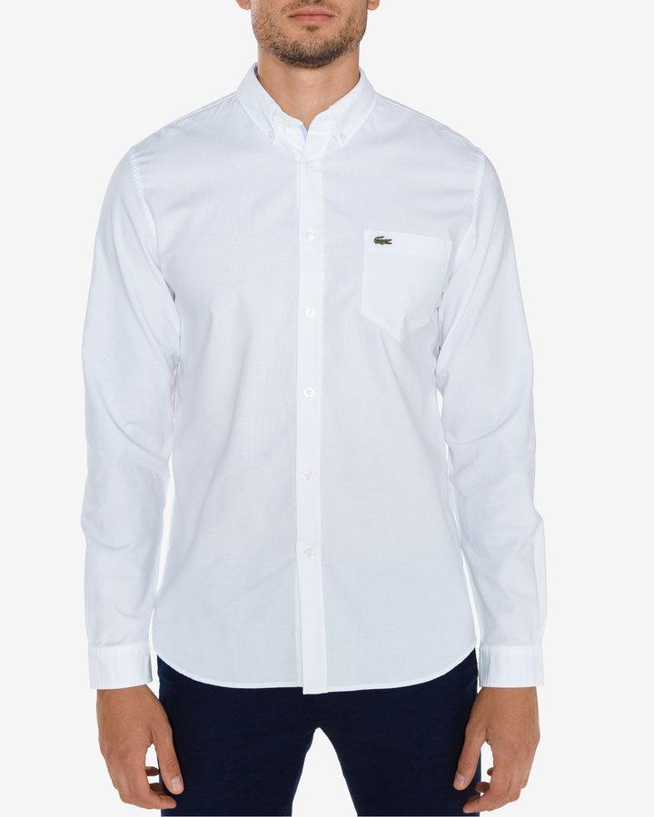 Bílá pánská košile s dlouhým rukávem Lacoste