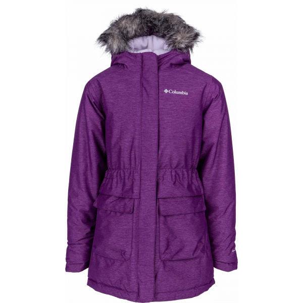Fialová dětská zimní bunda s kapucí Columbia