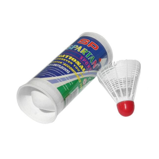 Bílý plastový badmintonový míček Spartan - 10 ks